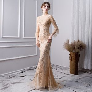 Luxury / Gorgeous Gold Handmade  Beading Evening Dresses  2019 Trumpet / Mermaid Scoop Neck Pearl Crystal Rhinestone Sequins 3/4 Sleeve Floor-Length / Long Formal Dresses