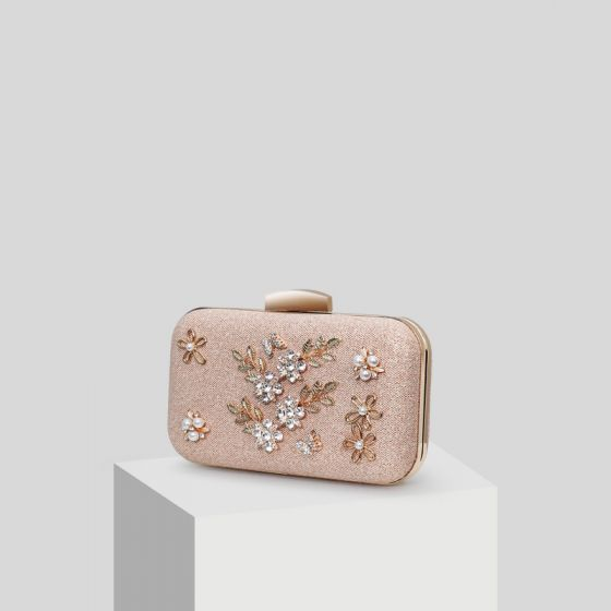 Classy Champagne Crystal Flower Pearl Rhinestone Clutch Bags 2019