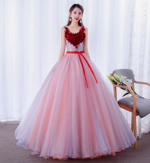 Modern / Fashion Candy Pink Prom Dresses 2019 Ball Gown Appliques Scoop Neck Pearl Lace Flower Bow Sleeveless Backless Floor-Length / Long Formal Dresses