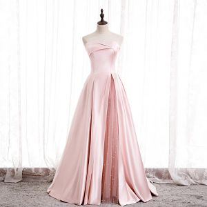 Fashion Blushing Pink Satin Prom Dresses 2020 A-Line / Princess Strapless Sleeveless Beading Pearl Floor-Length / Long Ruffle Backless Formal Dresses