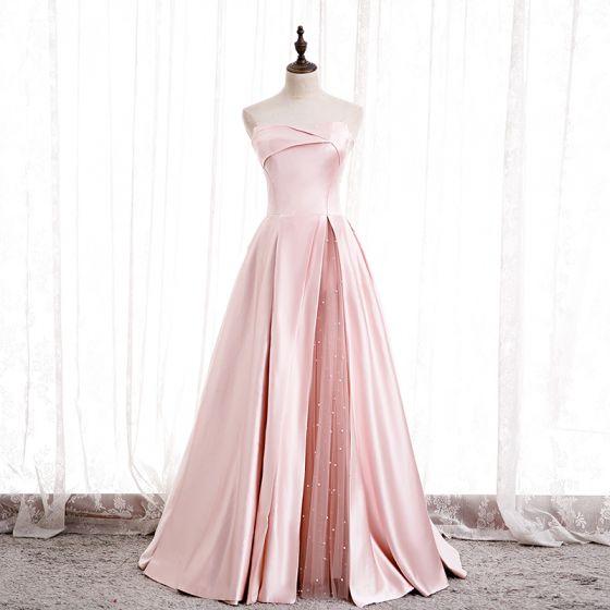 Fashion Blushing Pink Satin Prom Dresses 2020 A-Line / Princess Strapless Sleeveless Beading Pearl Floor-Length / Long Ruffle Backless Formal Dresses