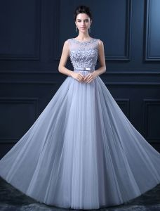 A-line Scoop Neck Backless Beading Flowers Sash Tulle Graduation Dress / Homecoming Dress