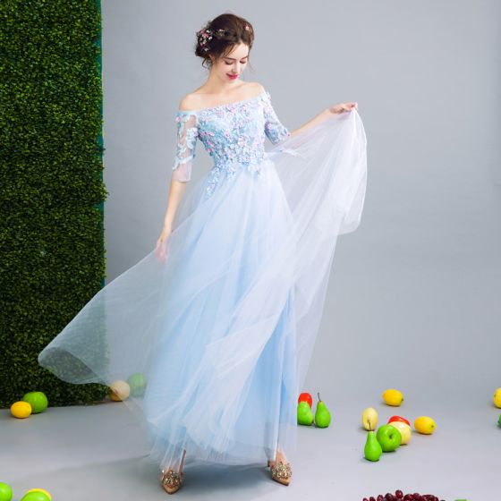 Chic / Beautiful Sky Blue Evening Dresses  2017 A-Line / Princess Strapless Lace 1/2 Sleeves Appliques Embroidered Handmade  Evening Party Party Dresses