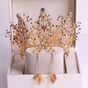 Charmant Doré Accessoire Cheveux Mariage 2020 Alliage Faux Diamant Perlage Tiare Boucles D'Oreilles Mariage Accessorize