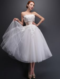 Strapless Applique Lace Flowers Tea Length Short Wedding Dress With Ruffle Sash