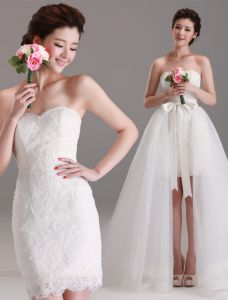 2015 Removable Sweetheart Bows With Tulle Tailing Short Wedding Dress