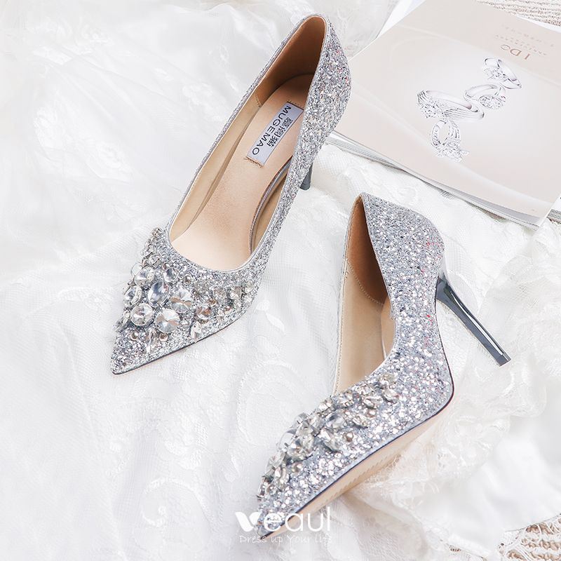 Sparkly Silver Wedding Shoes 2019 Leather Beading Crystal