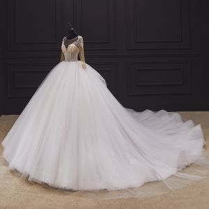 Illusion Ivory Bridal Wedding Dresses 2020 Ball Gown See-through Scoop Neck Long Sleeve Backless Handmade  Beading Cathedral Train Ruffle