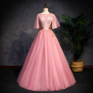 Chic / Beautiful Pearl Pink See-through Prom Dresses 2019 A-Line / Princess Scoop Neck Short Sleeve Appliques Lace Pearl Floor-Length / Long Ruffle Backless Formal Dresses