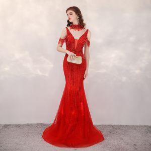 Wysokiej Klasy Czerwone Sukienki Wieczorowe 2020 Syrena / Rozkloszowane Głęboki V-Szyja Kótkie Rękawy Wykonany Ręcznie Frezowanie Rhinestone Trenem Sweep Bez Pleców Sukienki Wizytowe