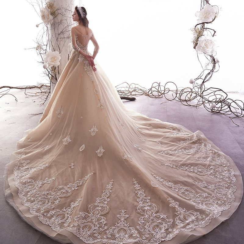 Luxury / Gorgeous Champagne See-through Wedding Dresses 2019 A-Line / Princess Square Neckline 3/4 Sleeve Backless Glitter Tulle Appliques Lace Beading Cathedral Train Ruffle