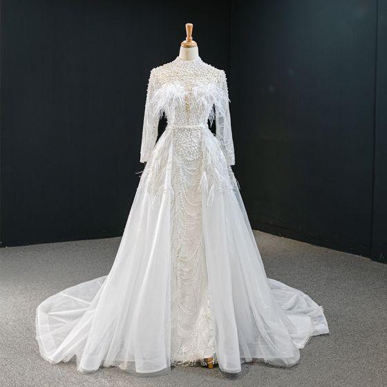 Luxus / Herrlich Weiß Perle Feder Brautkleider / Hochzeitskleider 2020 A Linie Stehkragen Lange Ärmel Rückenfreies Pailletten Abnehmbar Hof-Schleppe Rüschen