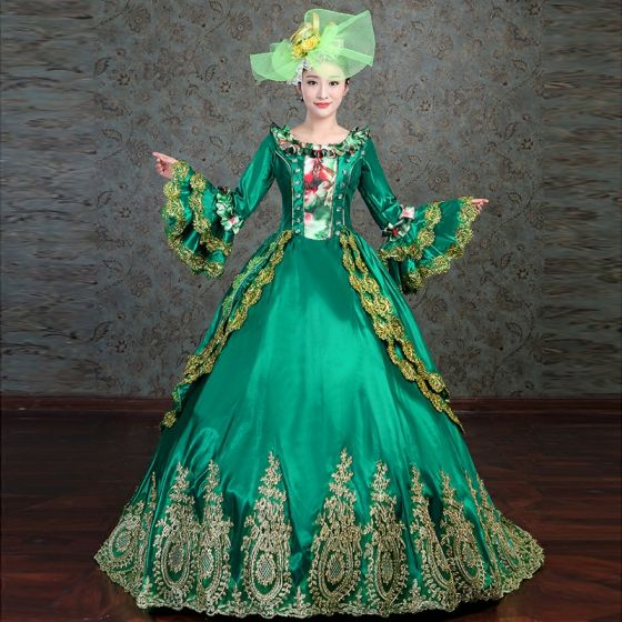 Vintage / Retro Medieval Dark Green Ball Gown Prom Dresses 2021 Long Sleeve Square Neckline 3D Lace Embroidered Handmade  Floor-Length / Long Cosplay Prom Formal Dresses