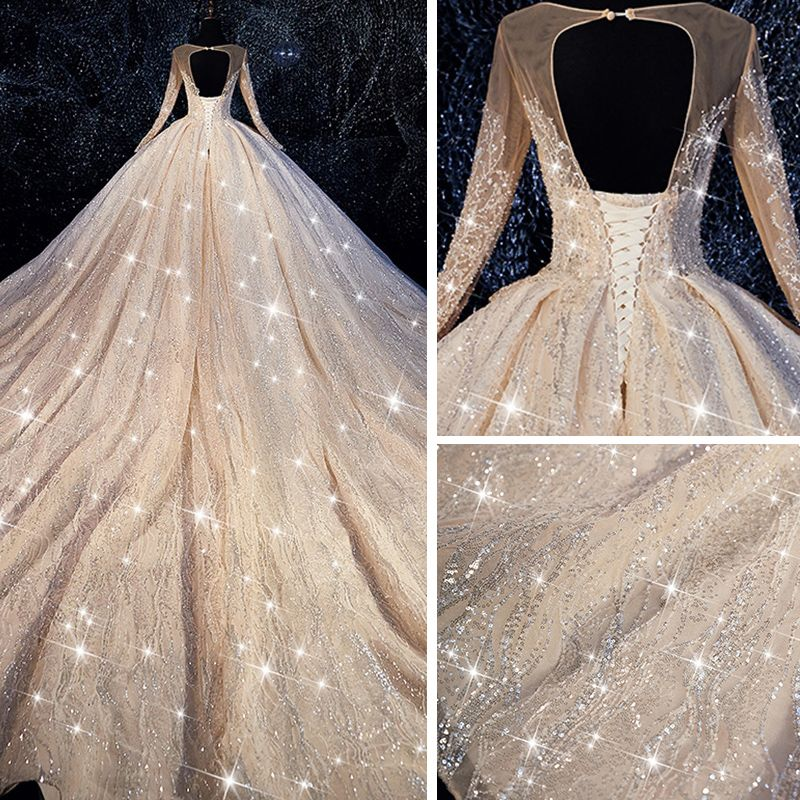 Bling Bling Champagne See-through Wedding Dresses 2019 Ball Gown Scoop Neck Long Sleeve Backless Beading Glitter Tulle Royal Train Ruffle