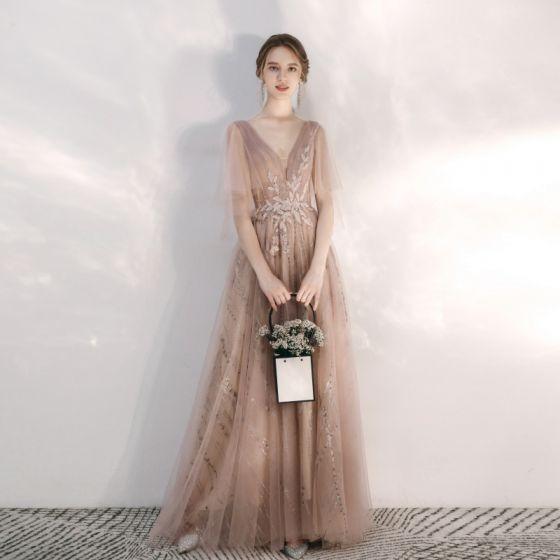 Chic / Belle Champagne Robe De Soirée 2020 Princesse V-Cou Glitter Perlage En Dentelle Fleur Faux Diamant Paillettes 1/2 Manches Dos Nu Longue Robe De Ceremonie