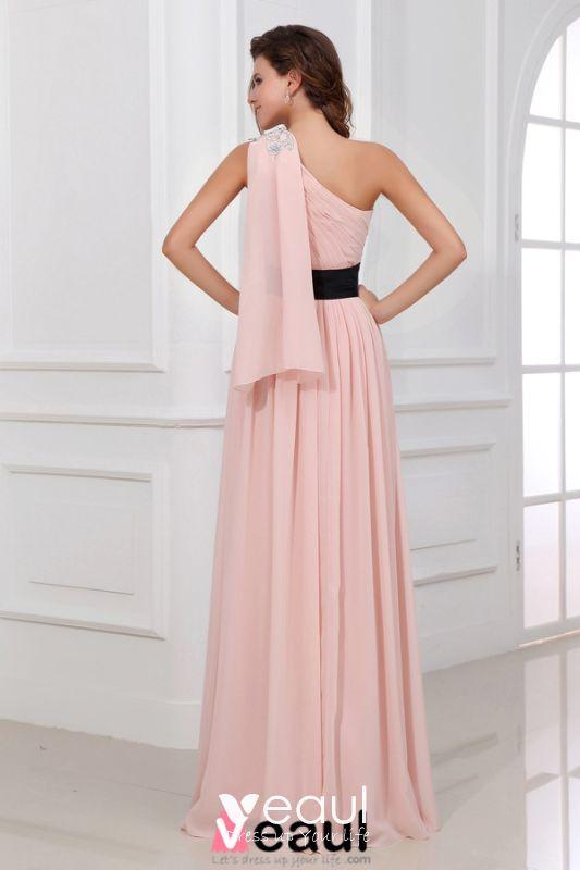 schöne rosa abendkleid lang eine schulter festliche