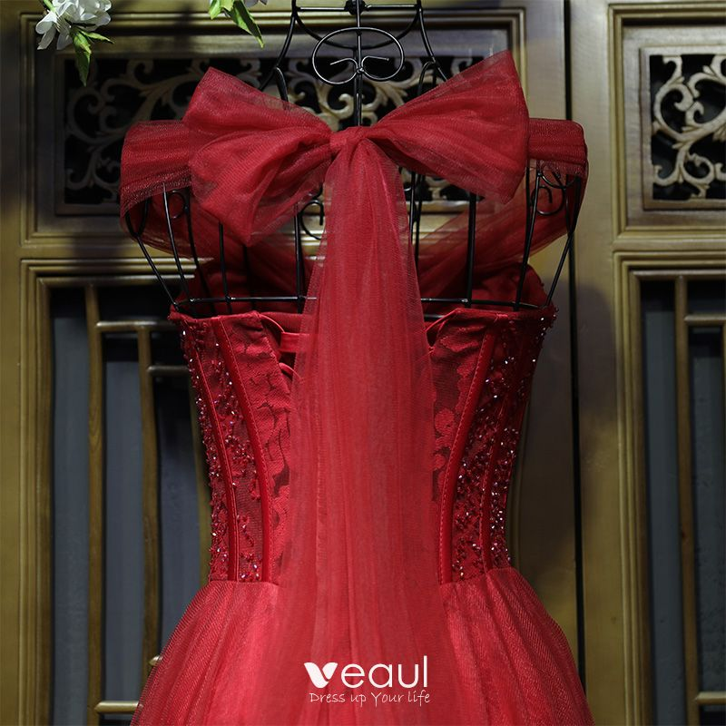 Chic / Beautiful Red Formal Dresses Evening Dresses  2017 Lace Embroidered Sequins Sweetheart Sleeveless Ankle Length A-Line / Princess