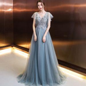Elegante Abendkleider 2018 A Linie Applikationen Perlenstickerei Kristall Perle V-Ausschnitt Rückenfreies Kurze Ärmel Lange