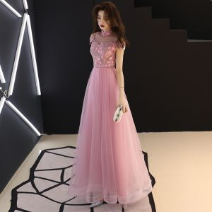 Chinese style Blushing Pink Prom Dresses 2019 A-Line / Princess High Neck Lace Flower Short Sleeve Backless Floor-Length / Long Formal Dresses