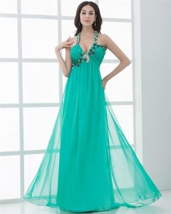 Fascinating Halter Floor Length Beading Pleated Chiffon Celebrity Dresses