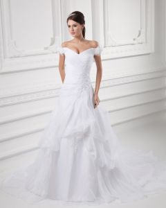 Organza Beads Flower Off-The-Shoulder Court Train A Line Wedding Dress