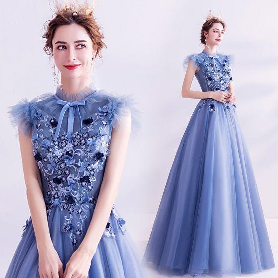 Vintage Meeresblau Ballkleider 2020 A Linie Stehkragen Schleife Spitze Blumen Applikationen Ärmellos Rückenfreies Lange Festliche Kleider
