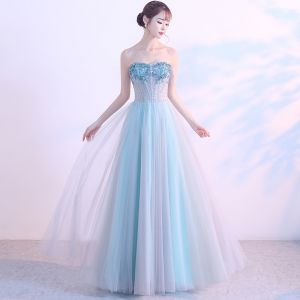 Chic / Beautiful Sky Blue Evening Dresses  2017 A-Line / Princess Tulle Strapless Beading Backless Evening Party Formal Dresses