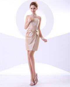 Plisami Suknia Z Tafty Bez Ramiaczek Krótkie Mini Koralik Tanie Sukienki Koktajlowe