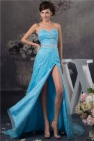 2015 Sexy Sweetheart Strapless Crystal Sash Beading Blue Prom Dress