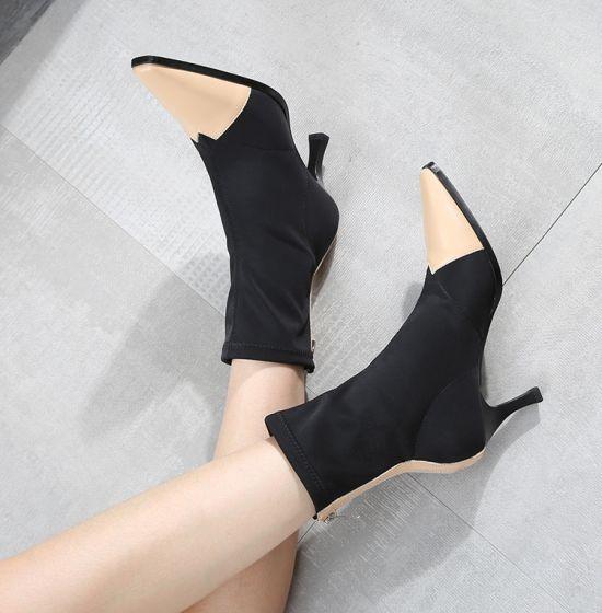 Abordable Noire Désinvolte Bottes Femme 2020 7 cm Talons Aiguilles À Bout Pointu Bottes