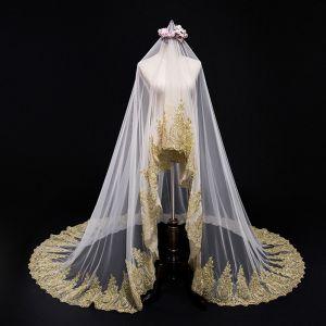 Amazing / Unique Champagne Wedding Tulle Lace Appliques Wedding Veils 2018