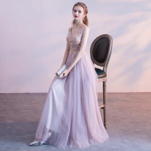 Schöne Rosa Ballkleider 2017 A Linie Mit Spitze Blumen Kristall Perle V-Ausschnitt Rückenfreies Ärmellos Knöchellänge Festliche Kleider