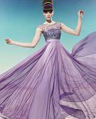 Bateau Beading Belt Ruffle Sleeveless Zipper Floor Length Charmeuse Woman Evening Dress