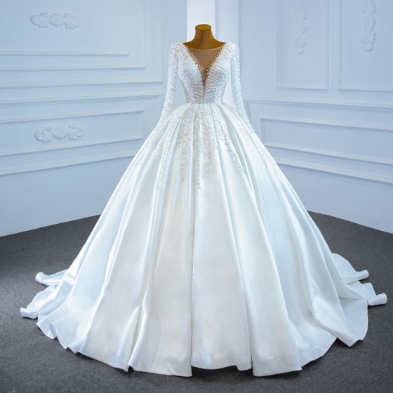 Luxury / Gorgeous White Satin Bridal Wedding Dresses 2020 Ball Gown See-through Square Neckline Long Sleeve Backless Handmade  Beading Pearl Sweep Train Ruffle