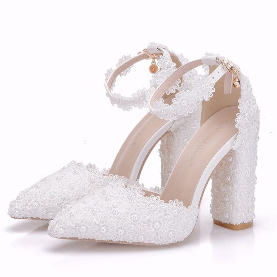 Chic / Beautiful White Wedding Shoes 2018 Lace Flower Pearl Ankle Strap 8 cm Thick Heels Pointed Toe Wedding High Heels