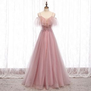 Prisvärd Rodnande Rosa Aftonklänningar 2020 Prinsessa Spaghettiband Korta ärm Beading Glittriga / Glitter Tyll Långa Ruffle Halterneck Formella Klänningar