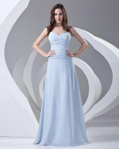 Spaghetti Straps Pleated Floor Length Chiffon Woman Bridesmaid Dress
