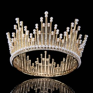 Gold Rhinestone Pearl Metal Tiara 2017 Vintage Amazing / Unique Bridal Jewelry