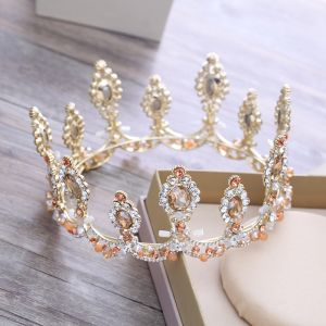 Luxury / Gorgeous Gold Metal Tiara 2018 Beading Crystal Rhinestone Wedding Accessories