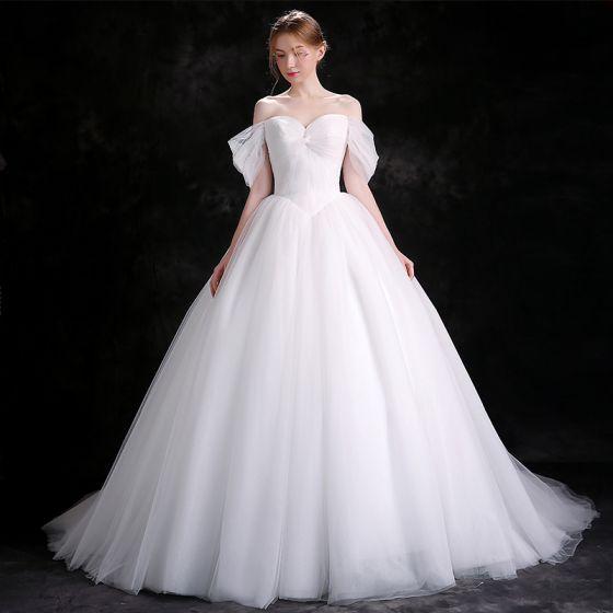 Proste Simple Białe Suknie ślubne 2018 Suknia Balowa Przy Ramieniu