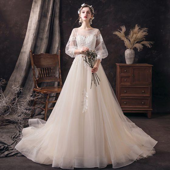 Niedrogie Szampan ślubna Suknie Ślubne 2020 Princessa Przezroczyste Wycięciem Bufiasta 3/4 Rękawy Bez Pleców Aplikacje Frezowanie Trenem Sąd Wzburzyć