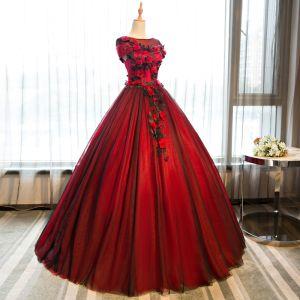Chic / Belle Quinceañera Bordeaux Robe De Bal 2018 Robe Boule Papillon Appliques U-Cou Manches Courtes Longue Robe De Ceremonie