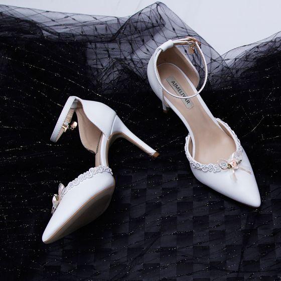 Fine Hvit Brudepike Sandaler Dame 2020 Ankelstropp Blonder Blomst 9 cm Stiletthæler Spisse Sandaler