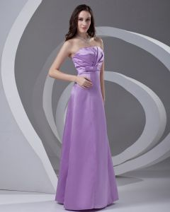 Strapless Pleated Floor Length Satin Woman Bridesmaid Dress