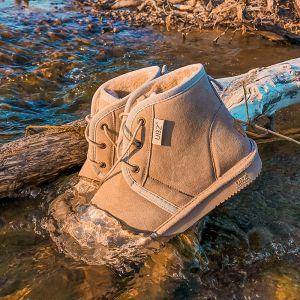 Schlicht Khaki Schneestiefel 2020 Wasserdichte Leder Schnüren Ankle Boots Winter Flache Freizeit Runde Zeh Stiefel Damen