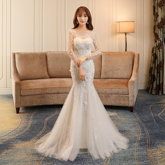 Affordable Church Hall Wedding Dresses 2017 White Trumpet / Mermaid Chapel Train Cascading Ruffles Scoop Neck Backless Long Sleeve Rhinestone Lace Appliques Pearl