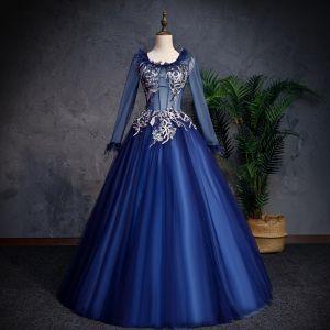 Elegante Marineblau Ballkleider 2019 A Linie Rundhalsausschnitt Spitze Blumen Perle Lange Ärmel Rückenfreies Lange Festliche Kleider