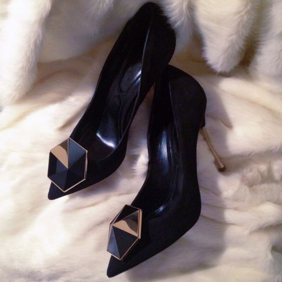 Chic / Beautiful Black Office Pumps 2019 Suede 10 cm Stiletto Heels Pointed Toe Pumps