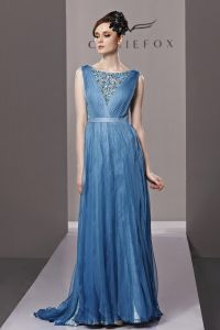 Bateau Beading Floor Length Tencel Woman Evening Dress
