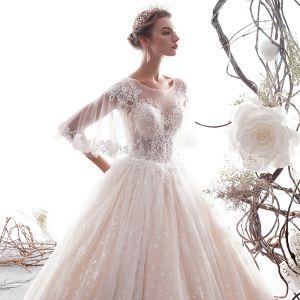 Elegant Champagne Wedding Dresses 2019 A-Line / Princess Short Sleeve Beading Lace Flower Scoop Neck Backless Floor-Length / Long